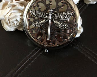 Dragonfly purse mirror, dragonfly gift, compact mirror, dragonfly  purse mirror, dragonfly travel mirror, dragonfly pocket mirror