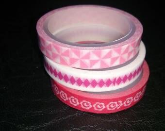 Set of 3 washi tape 6mm x 3 m pink red white