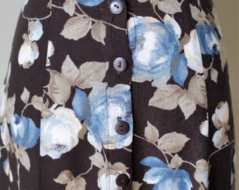1990s Black and Blue Floral Button Down Skirt