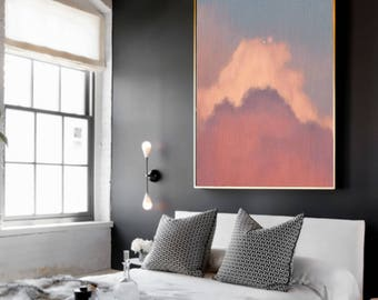 Cloud Painting, Abstract Art Print, Abstract Giclee, Pastel Blue Pink, Modern Art Abstract, Minimalist Painting, Abstract Expressionist Art