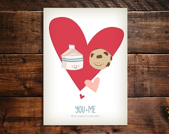 Instant download. Valentine's Day, Anniversary, Love Greeting card. Milk and Cookies. We're made for each other