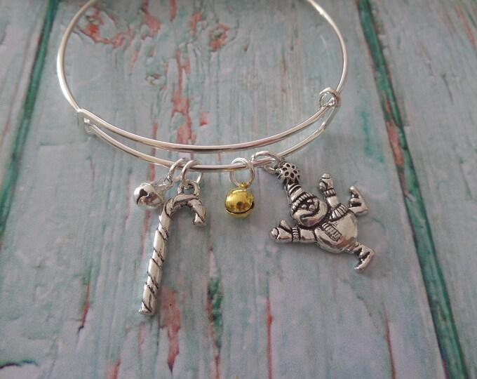 Christmas bangle, christmas bracelet, jingle bells gift, novelty jewelry, xmas story, snowman bracelet, candy cane gift, xmas stocking gift