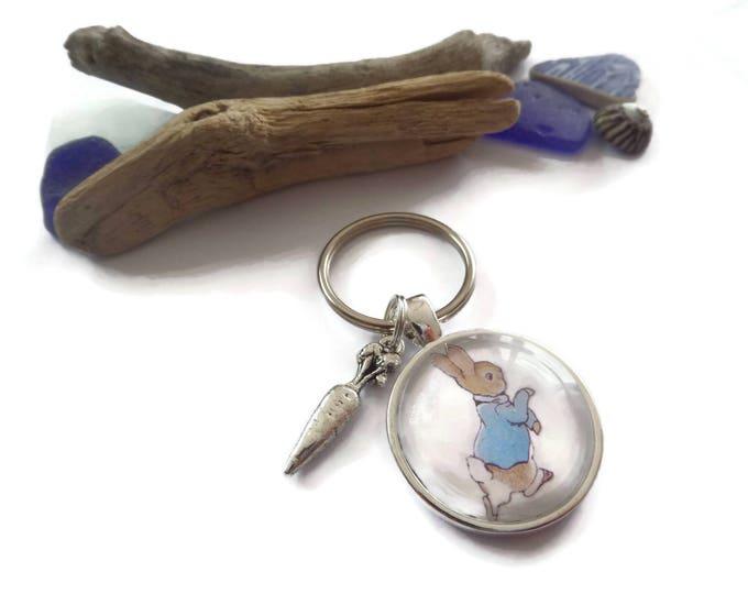 Peter Rabbit gift, peter rabbit keyring, rabbit carrot gift, beatrix fan gift, rabbit keychain gift, novelty gift, beatrix, sandykissesuk