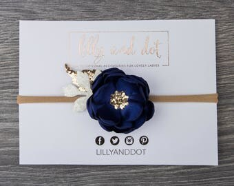 Navy Blue Rose Gold - Glitter - Sequin - Flower Headband - Baby Headband - Girls Hairband - Flower Crown - Spring Heaband - Nylon -Dainty *