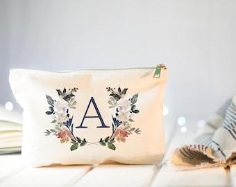 Monogram Cosmetic Bag, Personalized Floral Bags, Spring Wedding, Monogram Make up Bag, Custom Cosmetic Case, Personalized Toiletry Bag