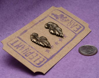 Brass Leaves Post Earrings