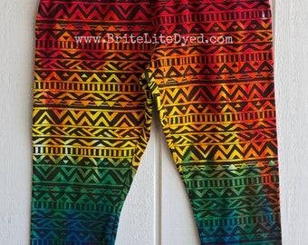 Tie Dye Capri Leggings - Womens LARGE - Festival Legging - Tye Dye Leggings - Cotton Capri Leggings - Hippie Leggings - Rainbow Leggings