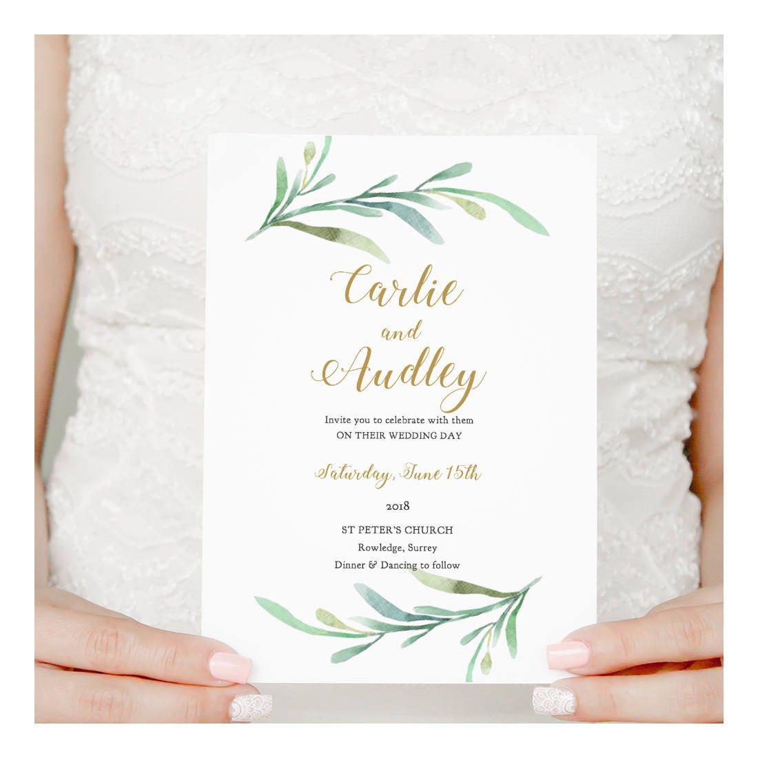Greenery Wedding Invitation Template Garden Invitation
