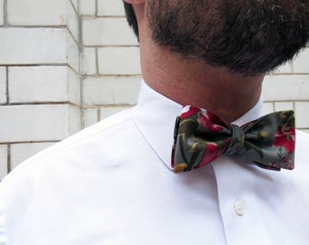 Floral mens refashioned Bow Tie