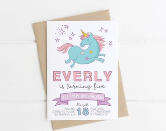 Unicorn Birthday Party Invitations, Party Like a Unicorn Bday Girl Printable Invite, Rainbow Unicorns Colorful 1st 2nd 3rd 4th 5th 6th 7th