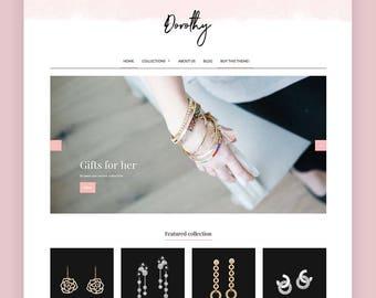 Feminine Shopify Theme - Dorothy   Shop Theme, E-commerce Website Design, Shopify Template, Shopify Website Design, Shopify Boutique Site