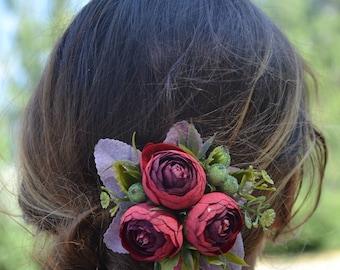 Flower hair clip Flower hair accessories Flower hair piece Floral hair piece Wedding hair piece Wedding hair clip Bridal hair clip Green