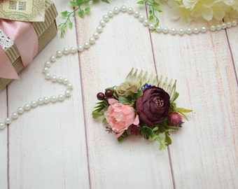 Flower comb Gift/for/her Bridal flower comb Wedding flower comb Flower girl hair accessories Rose hair comb Bridal hair Flower headpiece