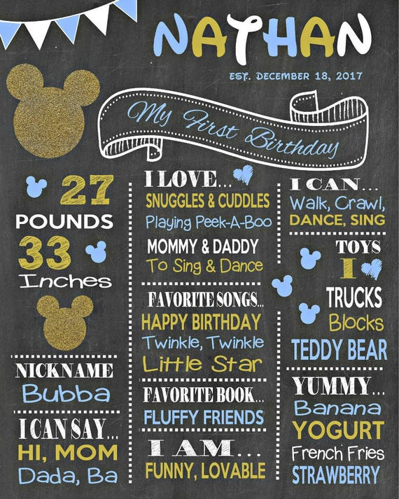 Mickey mouse chalkboard poster disney first 1st 2nd 3rd for Third party wall notice
