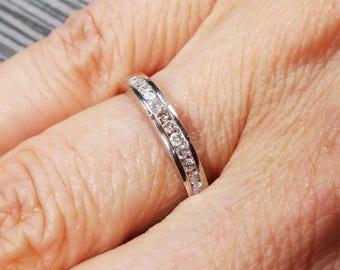 Vintage Diamond Wedding Band 14k White Gold Wedding Band Channel Set Diamond Wedding Band Round Brilliant Cut Diamond Ring Wedding Ring