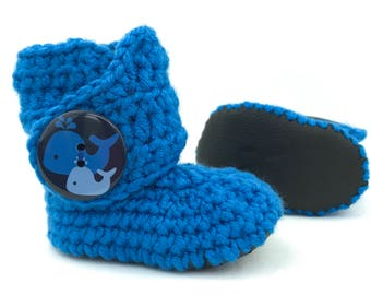 Whale Baby Clothes, Nautical Royal Blue Newborn Boots, Black Leather Soft Sole Infant Booties, Handmade Navy Crib Shoe, Cobalt Shoes for Boy