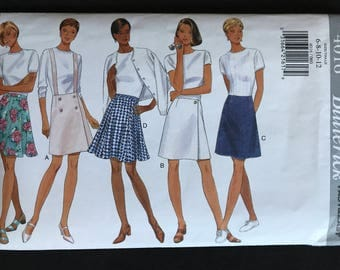 Butterick 4016 - Flared or A Line Skirt in Above Mid Knee Length with Shoulder Straps Option - Size  6 8