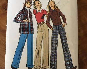 Simplicity 5262 - 1970s Girls Shirt Jacket and Pants - Size 13 14 Bust 32.5