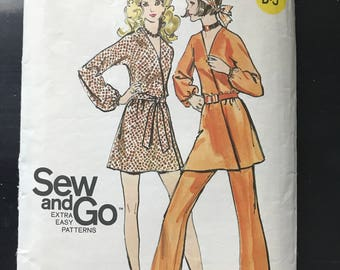 Butterick 5759 - 1960s 70s Mini Wrap Dress with Elastic Waistline and Kimon Sleeves with Pull On Pants and Belt - Size 12 Bust 34