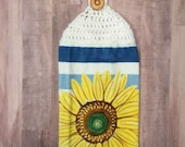 Crocheted Top Dish Towel - Sunflower and  Stripes