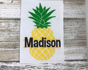 Pineapple Name Decal / car decal / monogram decal / pineapple decal / laptop decal / pineapple sticker / personalized / monogram sticker