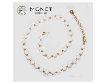 White Bead Strand / White and Gold Vintage Monet / SALE