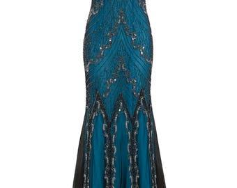 Evelyn Blue Beaded Flapper Dress, 1920s Great Gatsby Dress, Downton Abbey, Blue Formal Wedding Maxi, Sequin Evening Gown, Plus Size, S-XXXL