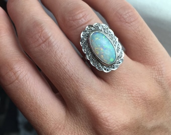Art Deco Opal and Diamond Cocktail Ring