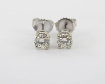14k White Gold Diamond Stud Earrings - Genuine Natural Diamonds Push Back