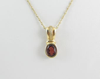 14K Yellow Gold Red Garnet Necklace - 14k Yellow gold Women's Garnet Necklace Chain 16 Inches