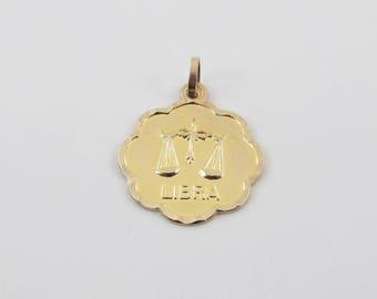 14k Yellow Gold Libra Zodiac Charm - 14k Gold Libra Zodiac Pendant