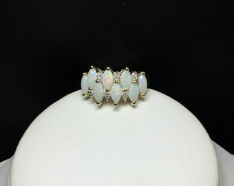 Opal and Diamond Ring 10 KT Yellow Gold