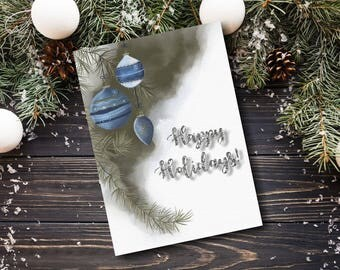 Printable Christmas Card Template, Happy Holidays, Happy New Year, New Years Card, Holiday Card, Cards Printable, Blue and silver card
