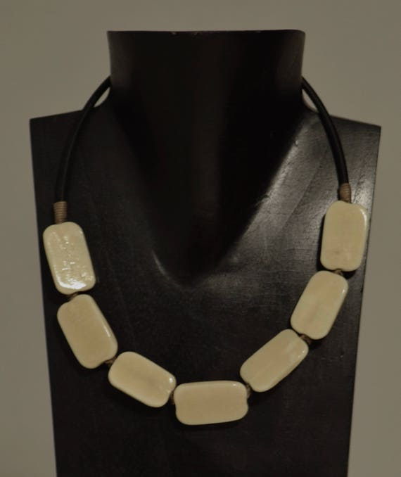 Necklace Indonesian Bone Square Beads Handmade Jewelry Bone Large Square Wrapped Cord Necklace