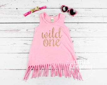 Girls First Birthday Dress, 1st Birthday Outfit, Wild One First Birthday Outfit, Baby Girl Birthday Dress, Pink and Gold Girls Dress