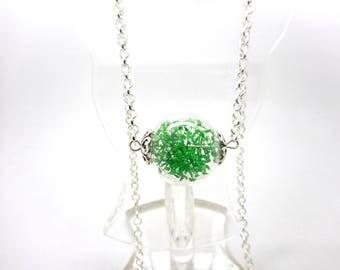 Long necklace glass globe round green foliage
