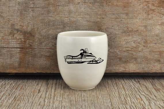 Porcelain coffee tumbler with vintage snowmobile drawing by Cindy Labrecque