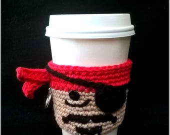Made To Order Hand Crochet Skurvy Pirate Coffee Sleeve & Bottle Cozy