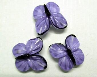 Lampwork butterfly beads, 3 pc purple glass lampwork beads, handmade lampwork beads, insect lampwork beads, purple artisan lampwork beads