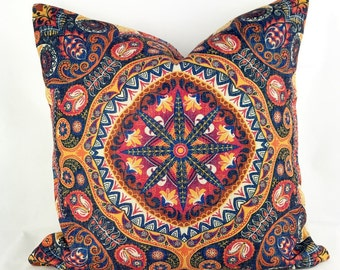 Bohemian cushion, hippie cushion, boho cushions, bohemian pillow, mandala cushion, boho throw pillow, blue and red cushion, aztec cushion