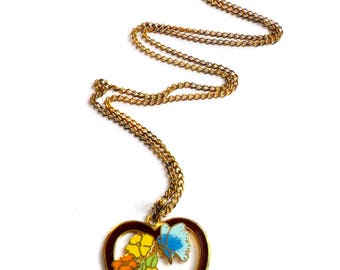 Vintage Enamel Heart Necklace - Butterfly Flower Design - Cloisonne Enamel - Heart Pendant - Gifts for Her - Yellow Orange Blue Burgundy