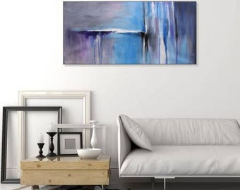 Original Art Large Abstract Painting Blue Wall Art Canvas Painting Modern Art Big Abstract Seascape Painting Blue Gray Abstract, Christovart