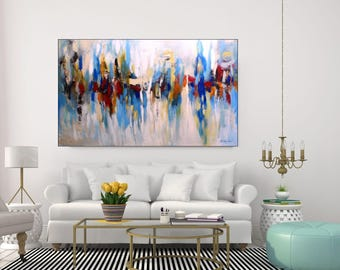 Huge Abstract Art Extra Large Abstract Painting Contemporary Art XL Abstract Original Extra Large Wall Art Canvas Blue Red Art, Christovart