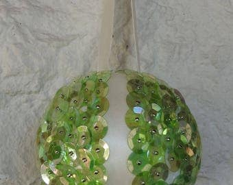 Handmade Light Green Sequined And Cream Ribbon Christmas Bauble In Quarters - Free Shipping