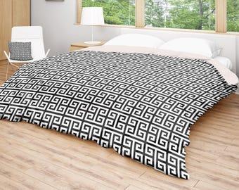 black white duvet modern duvet cover geometric bedding square bed cover pattern