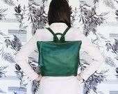 Forest Green leather backpack, Metropolitan backpack, backpack for women, leather school bag, womens backpack, green leather bag