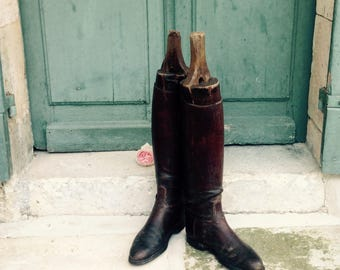 Stunning 19th century antique French military leather riding boots with original hand made antique wooden boot lasts