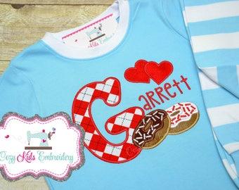Valentine's Day pajamas, Boy's Valentine Pajama, Valentine's Day Pj, Donut applique, Donut Embroidery