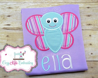 Butterfly Shirt, Girls shirt, Girls spring shirt, Butterfly Embroidery, Butterfly Appliqué, Custom, Monogram, Personalized