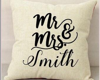 Custom Mr and Mrs Pillow